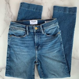 Frame Denim High Rise Crop Straight Leg Jeans
